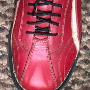Red leather tie shoes with white swish size 36